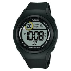 Lorus Men's Black Silicone Strap Digital Watch