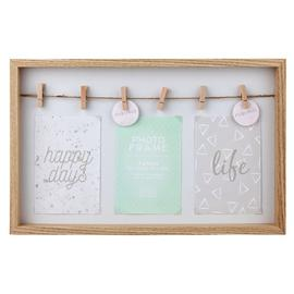 Argos Home 3 Print Peg Photo Frame - Woodgrain Effect
