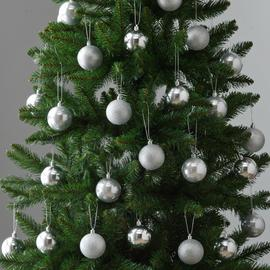 Argos Home 48 Pack of Baubles - Silver