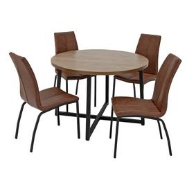 Argos Home Nomad Oak Effect Round Table & 4 Milo Chairs