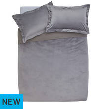 Argos Home Grey Velvet Bedding Set - Kingsize