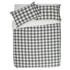 Argos Home Grey Brushed Check Bedding Set - Superking