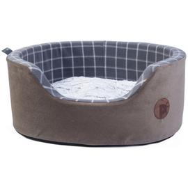 Petface Grey Window Check Foam Oval Pet Bed - Medium