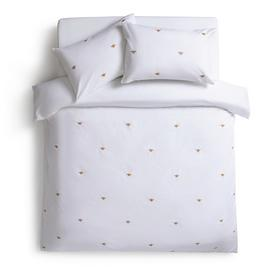 Habitat Gold Bee Embroidered White Bedding Set