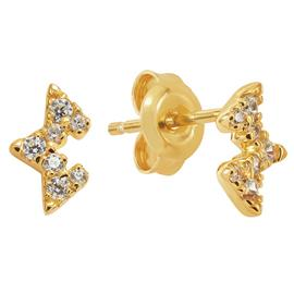 Revere 9ct Gold Plated Half Star Stud Earrings