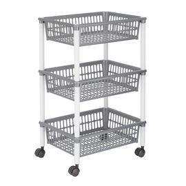 Argos Home 3 Tier Plastic Vegetable Trolley - Grey and White