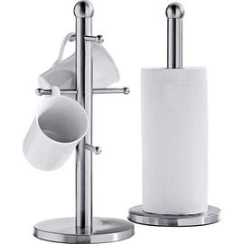 Argos Home Stainless Steel Mug Tree-Kitchen Towel Holder Set