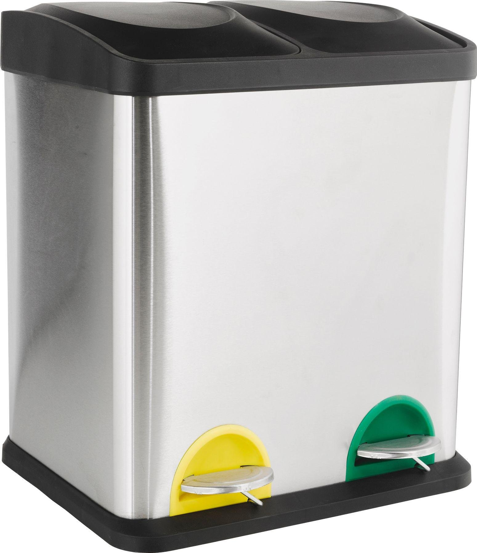 Nice HOME 30 Litre Recycling Pedal Bin With 2 Compartments