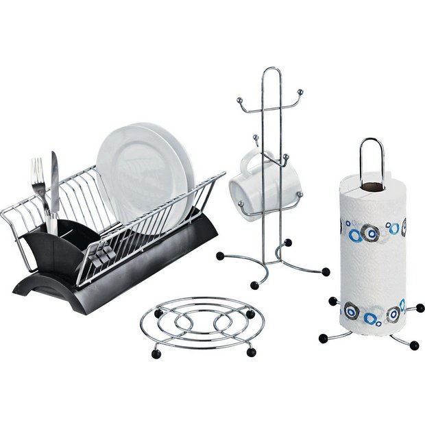 Kitchen Set Online: Buy HOME Set Of 4 Black And Chrome Kitchen Accessories At