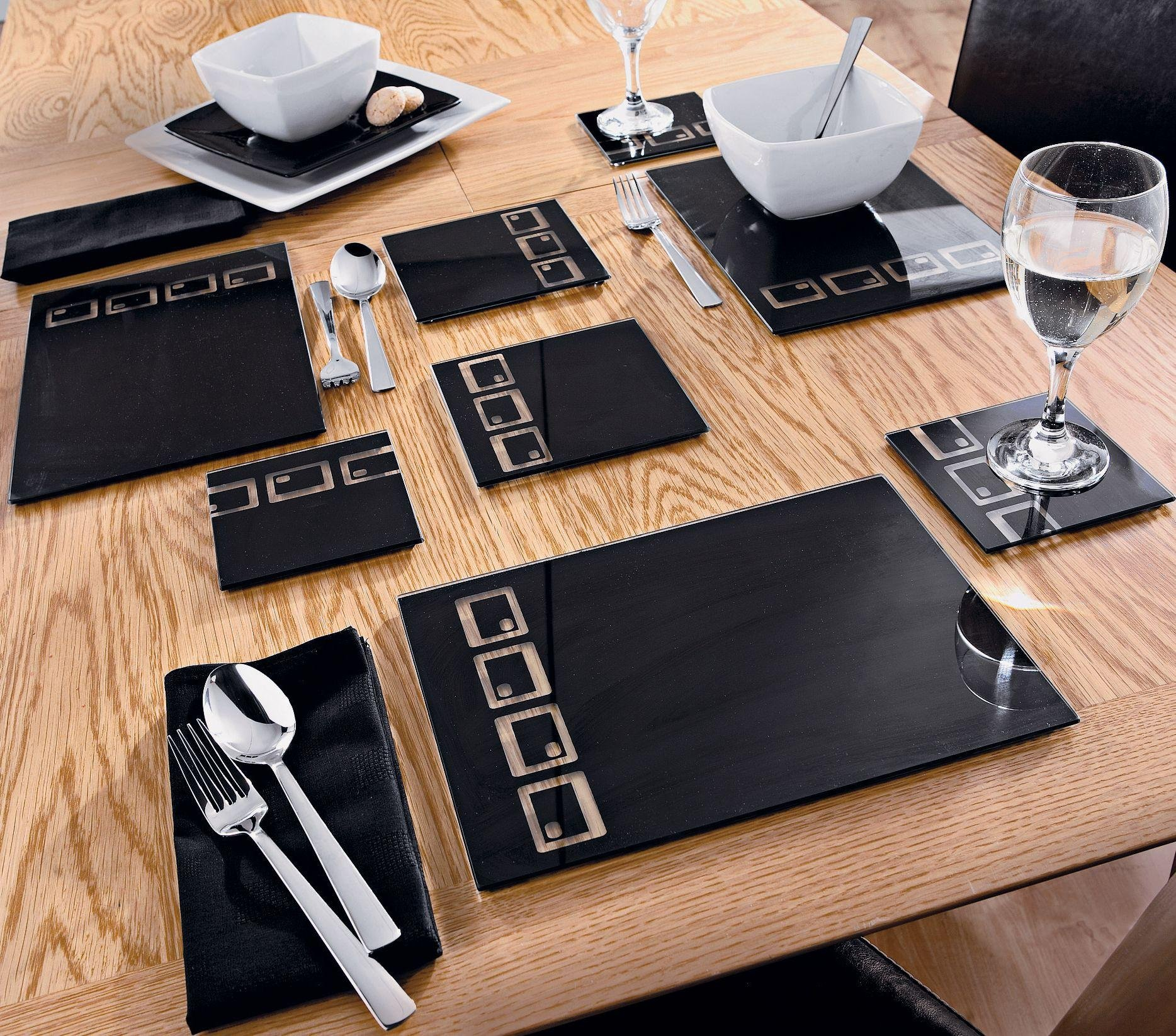 Superior HOME 10 Piece Oblong Glass Black Placemats And Coasters