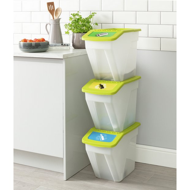 Buy Curver 34 Litre Plastic Recycling Bins Set Of 3 Kitchen Bins Argos