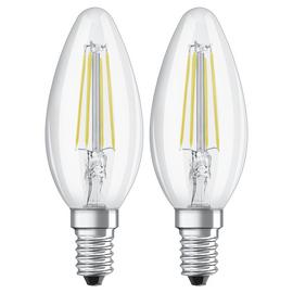 Osram 40W Filament LED GLass Candle SES Bulb - Twin Pack