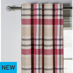 Argos Home Inverness Brushed Check Eyelet Curtains
