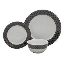 Argos Home Scallop Ceramic 12 Piece Dinner Set - Black