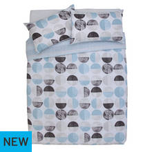 Argos Home Blue Circles Bedding Set - Double
