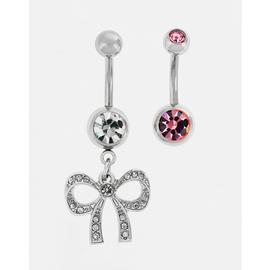 State of Mine Bow and Pink Crystal Belly Bars - Set of 2