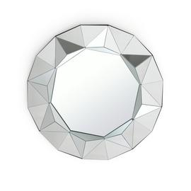Argos Home Ebury Round Faceted Wall Mirror - Silver