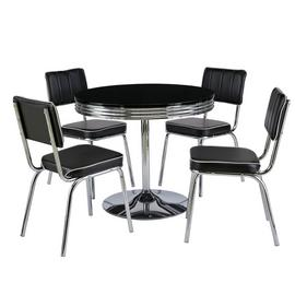 Argos Home Leni Black Gloss Dining Table & 4 Black Chairs