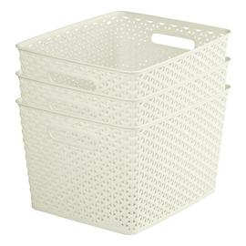 Curver My Style Set of 3 18 Litre Large Storage Boxes -White