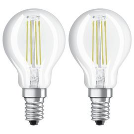 Osram 4W Filament LED Glass Globe SES Bulb - Twin Pack