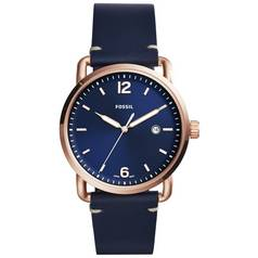 Fossil Men's Commuter FS5274 Navy Blue Leather Strap Watch