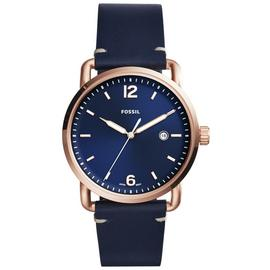 Fossil Commuter Men's Navy Blue Leather Strap Watch