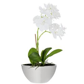 Large Orchid Artificial Arrangement in Mirrored Pot - Grey