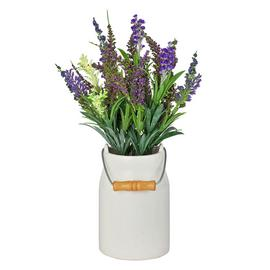 Lavender Artificial Arrangement in Ceramic Jug – White