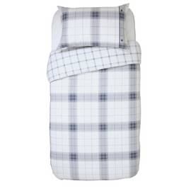 Argos Home Cosy Grey Brushed Check Bedding Set - Single