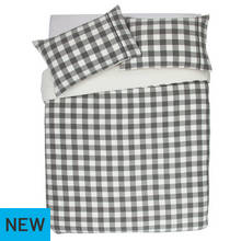 Argos Home Grey Brushed Check Bedding Set - Kingsize