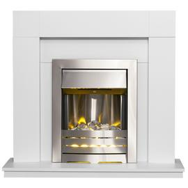 Adam Wyoming 2kW Electric Fire Suite - White & Black