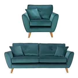 Argos Home Isla Velvet Chair & 3 Seater Sofa - Teal