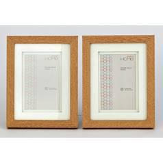 33a4a327974 Set of 2 4x6 Inch Double Mount Frames - Oak Effect