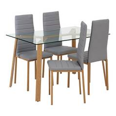 62a0da91860 Argos Home Helena Glass Table and 4 Chairs - Grey
