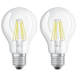 Osram 60W Filament LED Classic Glass GLS Bulb- Twin Pack