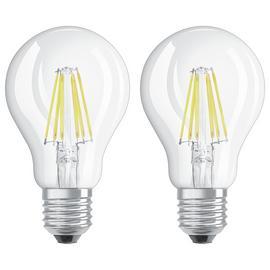 Osram 6W Filament LED Classic Glass GLS Bulb- Twin Pack