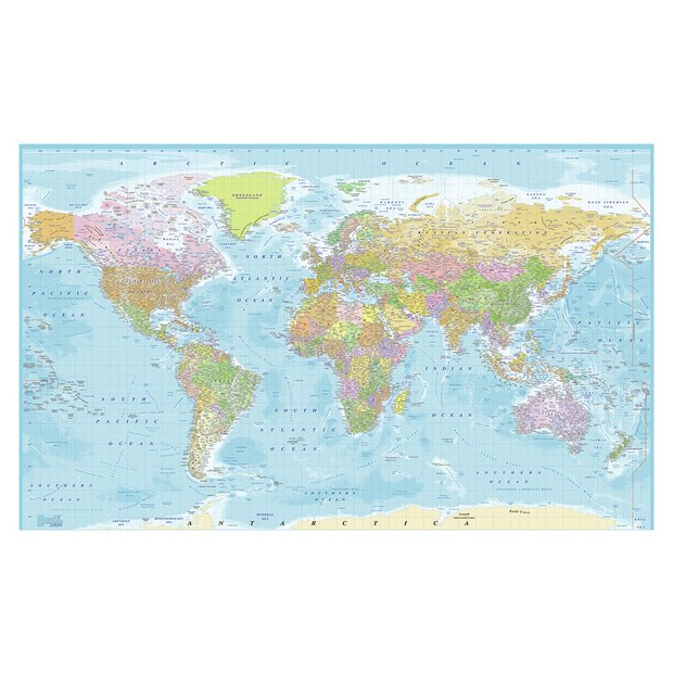 Buy 1wall World Map Wall Mural Murals And Wall Stickers Argos