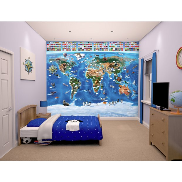 buy walltastic map of the world mural | murals and wall stickers | argos