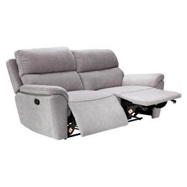 Argos Home Sandy 3 Seater Fabric Manual Recline Sofa -Silver