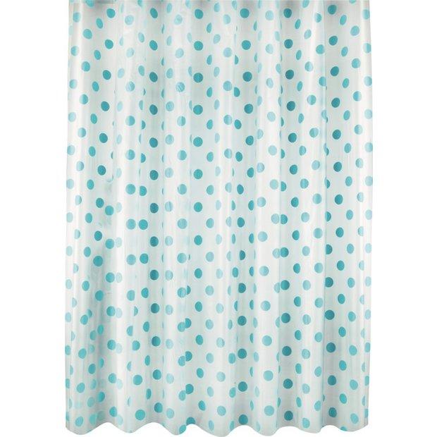 Buy Argos Home Polka Dot Shower Curtain Blue Shower Curtains
