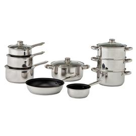 Argos Home 9 Piece Stainless Steel Induction Pan Set