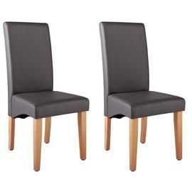 Argos Home Pair of Skirted Dining Chairs - Charcoal