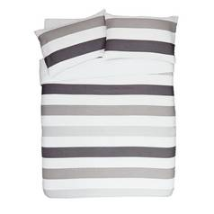 Argos Home Grey Waffle Stripe Bedding Set - Kingsize