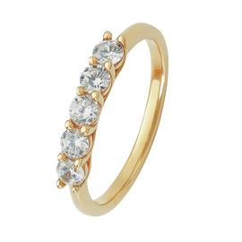 Revere 9ct Yellow Gold Claw Set CZ Half Eternity Ring