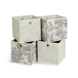 Habitat Set of 4 Squares Boxes - Grey & Floral
