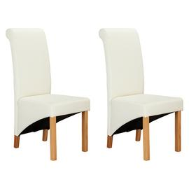 Argos Home Pair of Scrollback Deep Skirted Chairs - Cream