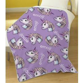 Emoji Unicorn Fleece Blanket