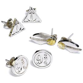 Harry Potter Silver Colour Stud Earrings - Set of 3