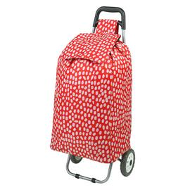 2 Wheel Folding Red and White Spot Shopping Trolley