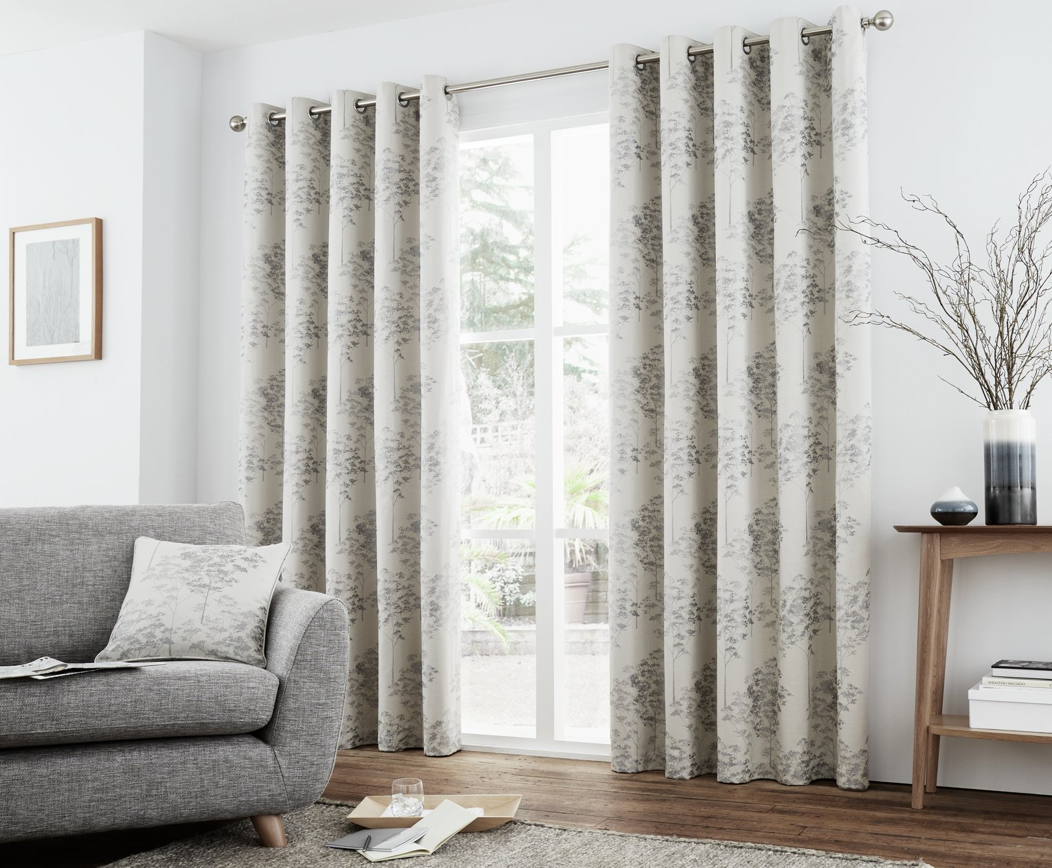 Curtina Elmwood Lined Curtains - 229x183cm - Silver